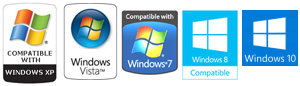 Software is compatible with XP, Vista, Windows 7, Windows 8 und Windows 10